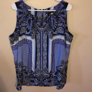Purple and black patterned blouse